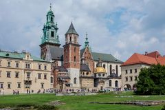 Architectural complex of Wawel in Krakow Royalty Free Stock Images
