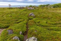 Architectural composition on the White Sea. Stone labyrinths on the Bolshoy Zayatsky Island. Solovetsky archipelago, White Sea, Russia stock photos