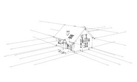 Architectural concept. 3D sketch of the home on a white background Royalty Free Stock Images