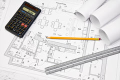 Architectural concept blueprint Stock Images
