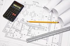 Architectural concept blueprint Stock Images