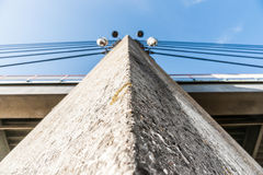 Architectural concrete bridge pillar of cable-stayed bridge Royalty Free Stock Image