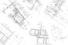 Architectural construction documents and floor plans Stock Photos