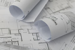 Architectural for construction drawings. With roll of blueprint Stock Images