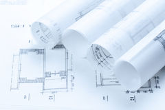 Architectural construction plans. Toned blue Royalty Free Stock Photo