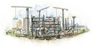 Architectural. Construction site. Royalty Free Stock Images