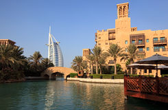 Architectural contrasts in Dubai. Royalty Free Stock Photography