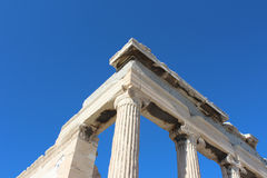 Architectural corner and column of the Parthenon (Παρθενώνας) former temple to Athena in Athens Greece. Royalty Free Stock Photo