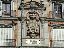 Architectural crest of Plaza Mayor in Madrid Spain Stock Photos