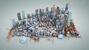 Architectural 3D model illustration of a large city on a blue ba. Ckground Royalty Free Stock Photo