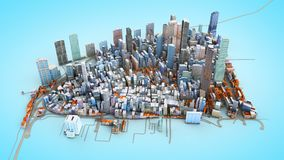 Architectural 3D model illustration of a large city on a blue ba. Ckground Stock Photography
