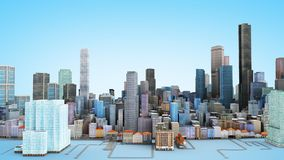 Architectural 3D model illustration of a large city on a blue ba. Ckground Stock Photos
