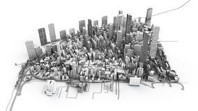Architectural 3D model illustration of a large city on a white b. Ackground Stock Images