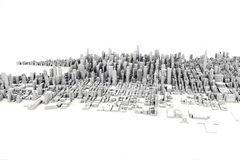 Architectural 3D model illustration of a large city on a white background. Stock Photos
