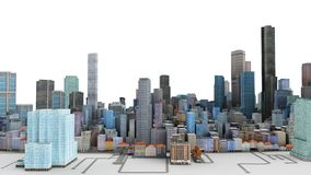 Architectural 3D model illustration of a large city on a white b. Ackground Royalty Free Stock Photo