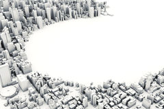 Architectural 3D model illustration of a large city on a white background. With a cut out circle with room for text or copy space Royalty Free Stock Image