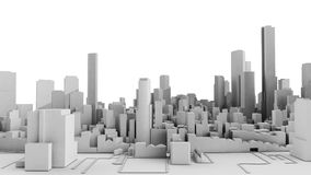 Architectural 3D model illustration of a large city on a whiteba. Ckground Stock Photos