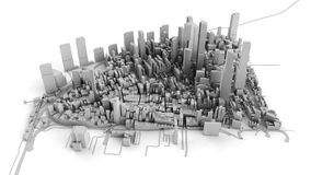 Architectural 3D model illustration of a large city on a whiteba. Ckground Stock Photo