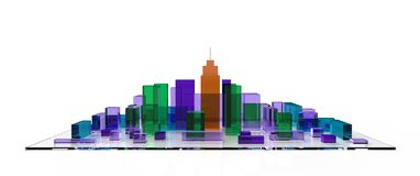 Architectural 3D model miniature downtown perspective. Abstract technology Stock Photography