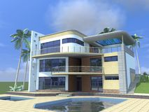 Architectural 3D project, visualization of a Residential building. royalty free stock photography
