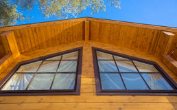 Architectural data of a winter wooden house Royalty Free Stock Photo