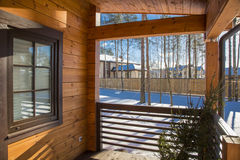 Architectural data of a winter wooden house Royalty Free Stock Photography