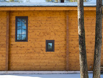 Architectural data of a winter wooden house Stock Photo