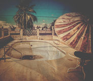 Architectural decay  derelict swimming pool. Royalty Free Stock Photos
