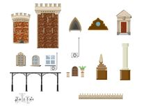 Architectural decor set. Elements and parts of the building architecture used in the design of buildings stock illustration