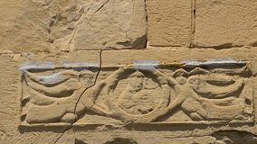 Architectural decoration angels with cross on Jvari Monastery wall, Mtskheta. Stock footage stock video