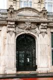 Architectural decoration of the facade of the old house in Budapest. Hungary stock photography