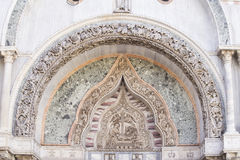 Architectural decoration on the facade of San Marco Cathedral in Stock Photography