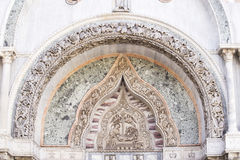 Architectural decoration on the facade of San Marco Cathedral in Stock Photo