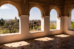 Architectural decoration and landscape. Architecture decorated and view the historic site of the Alhambra Stock Photo