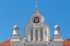 Architectural decorations at the facade of Serbian Vicariate in Stock Image