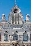 Architectural decorations at the facade of Serbian Vicariate in Stock Photos