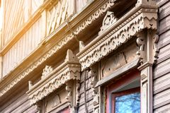 . Architectural and decorative elements. Carved wooden window. Architectural and decorative elements Royalty Free Stock Image