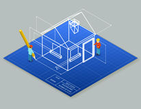 Architectural design blueprint drawing 3d. Isometric illustration. Project construction house, vector plan home Royalty Free Stock Photography