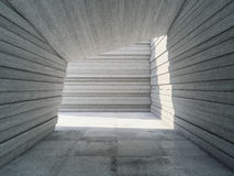 Architectural design concrete corridor. With abstract geometry, 3D illustration Stock Images