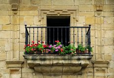 Architectural design in the historic town Santillana del Mar situated in Cantabria, Spain. There is an old saying that Santillana del Mar is The Town of Three royalty free stock image