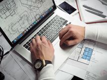 Architectural design on laptop Stock Images