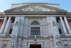 The architectural design of the main facade. Mikhailovsky Castle. St. Petersburg. stock photos