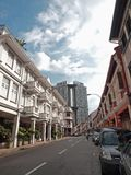 Architectural Design-modern & ancient. The Pinnacles @ Duxton seen with two rows of pre-war shop houses Stock Photography