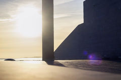 Architectural design of modern building against seascape Royalty Free Stock Photos