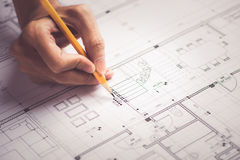 Architectural design and project blueprints drawings Stock Photography