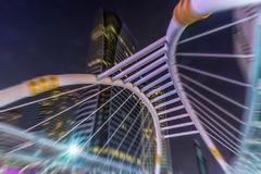 The architectural design of the skywalk above the intersection o royalty free stock photos
