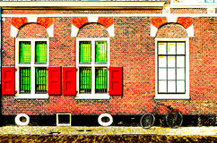 Architectural detail in Alkmaar, colorful illustration Stock Image