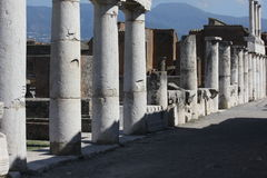 Architectural detail of ancient columns of Pompei stock photo