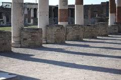 Architectural detail of ancient columns of Pompei stock image