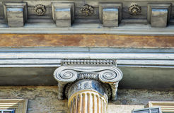 Architectural detail of an ancient decorated capital. Royalty Free Stock Photography
